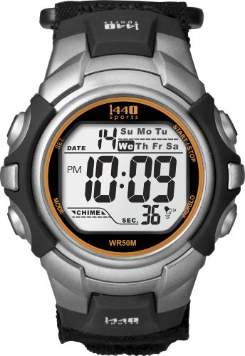 Timex Men's T5K455 1440 Sport Silver and Black Case with Black Fastwrap Digital Watch