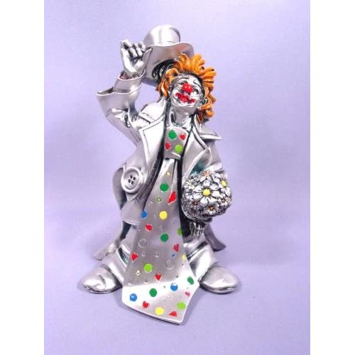 """Silver Clown Figurine With Long Tie """"Flori"""" - Collectible Figurines"""