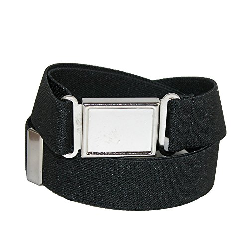 Jackster Kid's Elastic Adjustable One Size Belt w/ Magnetic Metal Buckle (Black) (Belts For Kids compare prices)