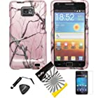 4 items Combo: Stylus Pen + Screen Protector Film + Case Opener + Silver Pink Pine Tree Leaves Camouflage Outdoor Wildlife Design Rubberized Snap on Hard Shell Cover Faceplate Skin Phone Case for Samsung Galaxy S2 / SII / II / 2 / SGH-i777 / i9100 (AT&T Version) / Straight Talk S959G