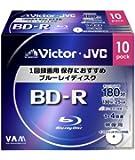 ビクター 映像用ブルーレイディスク 1回録画用 25GB 4倍速 保護コート(ハードコート) ワイドホワイトプリンタブル 10枚 BV-R130TW10