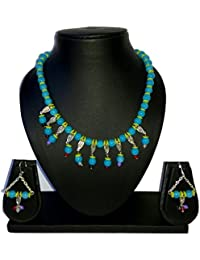 Beads And Buttons Multicolor/Multicolour Matching Handmade Beaded Necklace Set For Women Aqua Blue And Light Green...