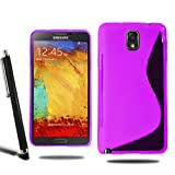 Samsung Galaxy Note 3 N9000 N9005 Grip Wave S Line Silicone Case Cover + Screen Protector + Stylus (Purple)