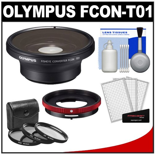 Olympus Fcon-T01 Fisheye Converter Lens & Cla-T01 Adapter Ring Pack For Tough Tg-1, Tg-2 & Tg-3 Ihs Camera With 3 Uv/Cpl/Nd8 Filters + Kit