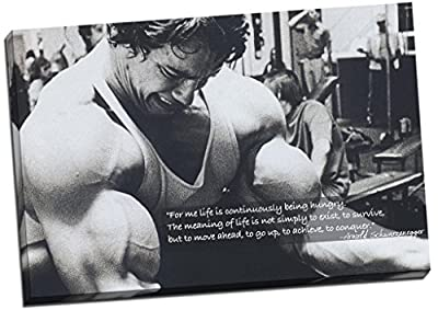 Panther Print Arnold Schwarzenegger Bodybuilding Motivation Quote Canvas Print Picture Wall Art Large 30 x 20 Inches (76cm x 51cm) Black, White
