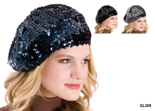 16e724c8b7e Ladies Sequin Beret Hat GL309 Available in Black