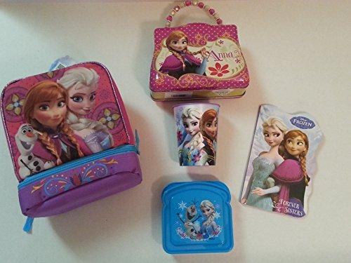 Disney Frozen Elsa & Anna Frozen 5 Piece Insulated Lunch Bag Giftset Bundle - 1
