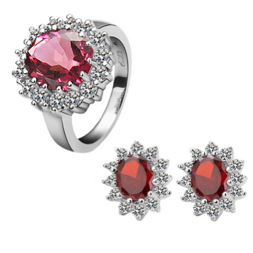 18k Gold Plated Swarovski Elements Crystal CZ Rhinestone jewelry Sets Red Ring & Earrings