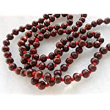 SEED Seller: Beautiful Red Sandalwood Mala Of 108+1 Red Sandal Wood Beads (Lal Chandan Mala), Hand Crafted Smooth...