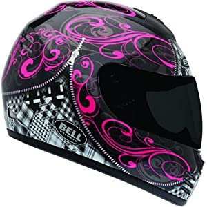 Bell Zipped Adult Arrow Sports Bike Racing Motorcycle Helmet - Black/Pink / Medium
