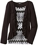 Amy Byer Big Girls Printed Top and Flyaway Cardigan