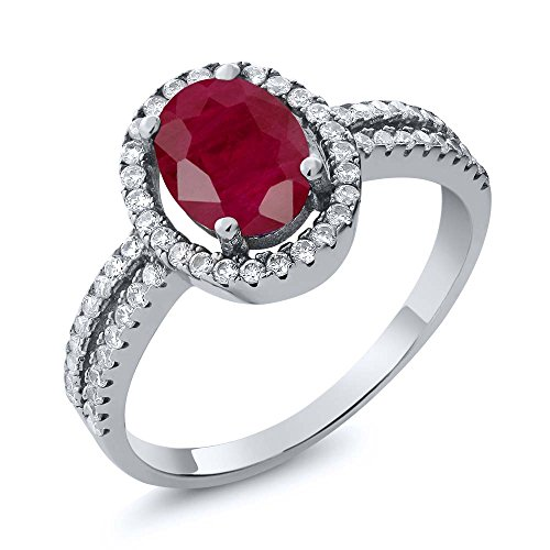 2.65 Ct Oval Red Ruby Gemstone Birthstone 925 Sterling Silver Women's Engagement Ring (Available in size 5, 6, 7, 8, 9)