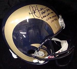 Marshall Faulk Autographed St. Louis Rams Full Size Replica Helmet HOF 2011, 2000 NFL MVP, 12279 Rush Yards & 136 TD's UDA #'d/28