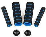 (イーエフイー)EFE 自転車用グリップ3点セット スポンジ製品 ハンドルバーグリップ+ブレーキバーグリップ+バーエンド(プラグ) ハンドルの完全武装 マウンテンバイク対応 オートバイ対応 3色 イエーロ/ブルー/レッド (ブルー)