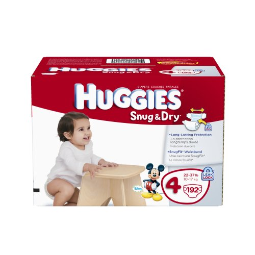 Huggies Snug and Dry Diapers Economy Plus, Size 4, 192 Count