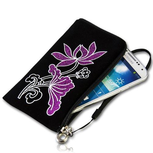 Handy Tasche Zipper Etui Hülle Case Schutz schwarz mit Glitzer Muster lila / violett S13 für für Samsung C3312 Rex60 / S5222R Rex80 / Galaxy Young S6310 / Galaxy Young Duos S6312 / Galaxy Pocket Plus S5301 / Samsung Galaxy Pocket Neo S5310 / Alcatel OT 903D / Alcatel OT Star 6010D