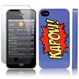 iPhone 4S / iPhone 4 Comic Capers KAPOW Purple/Orange/Yellow Hard Back Cover Case / Shell / Shield + Screen Protector By Creative 11by Creative Eleven