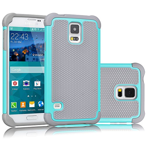 Galaxy S5 Case, Tekcoo(TM) [Tmajor Series] [Turquoise/Grey] Shock Absorbing Hybrid Rubber Plastic Impact Defender Rugged Slim Hard Case Cover Shell For Samsung Galaxy S5 S V I9600 GS5 All Carriers (Tmobile Samsung Galaxy S5 Case compare prices)
