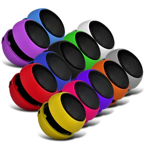 Sony Xperia M 12 Colour Pack Mini Capsule Travel Rechargable Loud Bass Speaker 3.5Mm Jack To Jack Input (Black, White, Blue, Red, Green, Yellow, Hot Pink, Purple, Orange, Grey, Light Purple & Baby Blue) By Spyrox