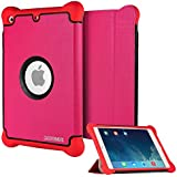 CASEFORMERS Armor Shield Cover Flip Case with Stand for iPad Mini 3, iPad Mini Retina Display and iPad Mini - Pink with Red boarders