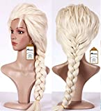 Anogol Free Hair Cap + Beige Cosplay Wig Halloween Wig Party Wigs Braid Hair with for Adults