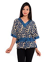 Geroo Women's Hand Block Printed Bamboo Silk Kaftan Blue Top