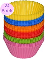 #1 Non Stick Silicone Cupcake Cups 24 Pack - Rainbow Bright Standard Silicone Reusable Heat Resistant Baking Cups - Cupcake Molds / Liners - 24 Count