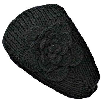 Luxury Divas Black Hand Made Knit Headband With Flower Detail