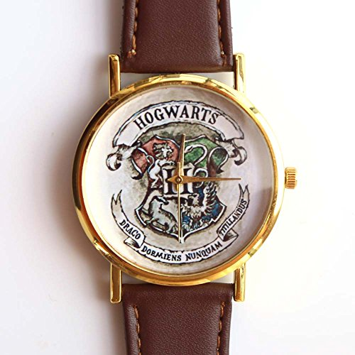 HOGWARTS-SCHOOL oro, con quarzo-Custodia in pelle, colore: marrone