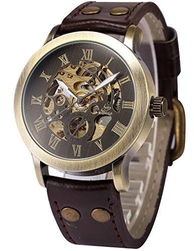 AMPM24 Men's Steampunk Bronze Skeleton Self-Winding Auto Mechanical Leather Wrist Watch PMW198 0