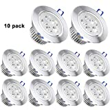 Pack of 10,Pocketman 110V 5W LED Ceiling Light Downlight,Cool White Spotlight Lamp Recessed Lighting Fixture,with LED Driver