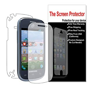Front + Back (Full Body) for Straight Talk Samsung S738c Galaxy Centura Clear LCD Screen Protector Film Guard Shield Cover (Shop4lessxz)