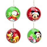 Mickey and Friends Set of 4 Deco Christmas Mini Ball Ornaments