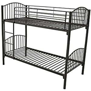Homcom 3ft Single Metal Twin Bunk Bed Sleeper Double Bed Children Kids Furniture Frame Black
