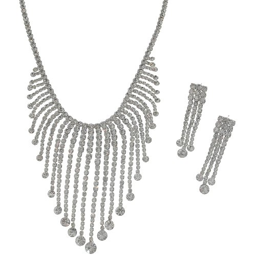 C18 Large Sparkly Crystal Diamante Wedding Bridal Necklace And Earrings Jewellery Set ***Please Check Measurements In Product Description Before Purchase