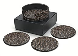 Diamondspun 4 Piece Coaster Set with Holder and Foam Padded Storage Box, Brown