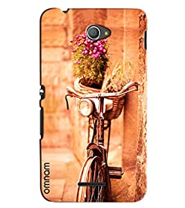 Omnam Vintage Cycle Standing On Wall With Flower Bucket Designer Back Cover Case for Xperia E4