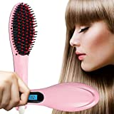 Hair Straightener, ANTEQI Silky Straight Hair Brush Anion Hair Care,Anti Scald Static Hair Straightening Comb, Moisturizing Hydrating Care, Make Tangled Hair with Detangling Digitial LCD (Pink)