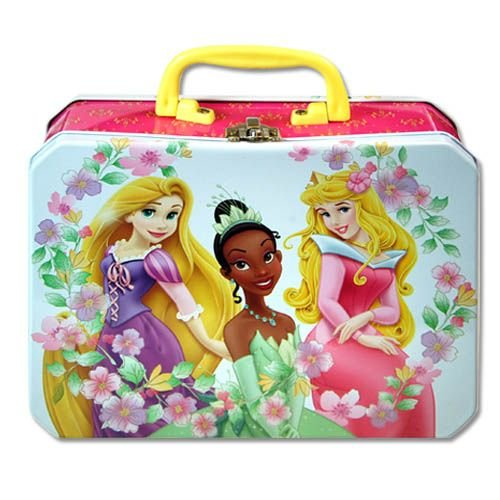 Lunch Box - Disney - Princess - Metal Tin Case w/ Plastic Handle & Clasp