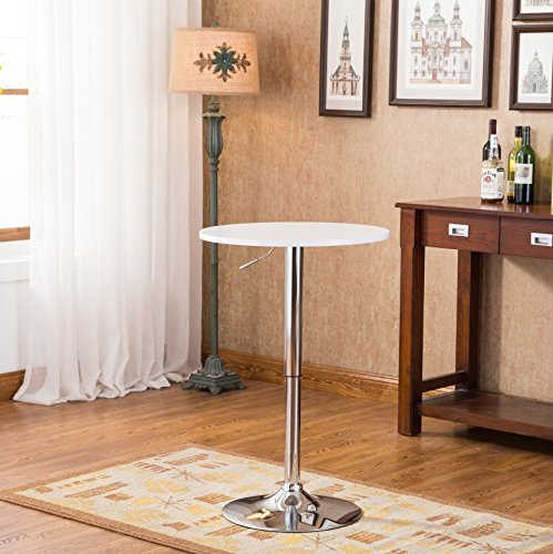 Roundhill Furniture Adjustable Height Wood and Chrome Metal Bar Table, White (White Pub Table compare prices)