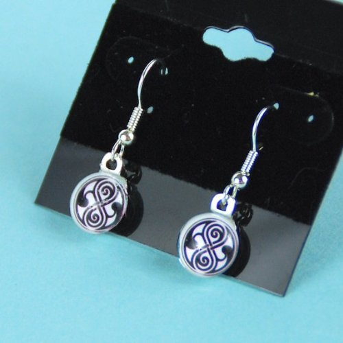 Doctor Who Earrings Seal of Rassilon Jewelry, Dr Who Gallefry Time Lord Hanging Silver Earrings, (Doctor Who Seal Of Rassilon Ring compare prices)