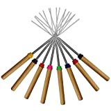 marshmallow roasting sticks kekuset of 8 telescoping rotating smores skewers  hot dog fork kids camping campfire fire pit accessories