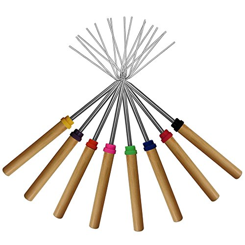 Marshmallow Roasting Sticks ,KEKUSet of 8 Telescoping Rotating Smores Skewers & Hot Dog Fork Kids Camping Campfire Fire Pit Accessories (Fire Roasting compare prices)