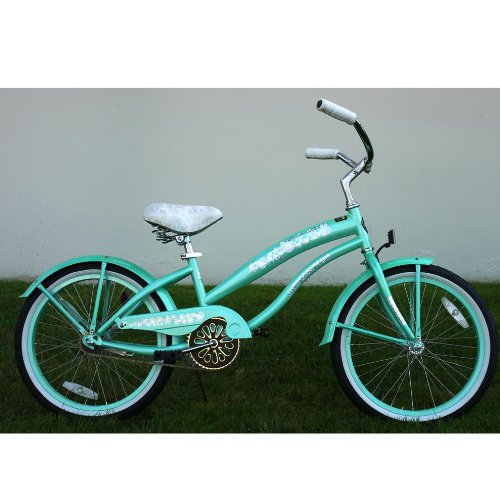 Kids Bikes Mint Green Girls Beach Cruiser 20 inch Extended Frame