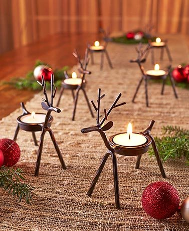 Set of 6 Reindeer Tea Light Holders