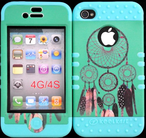 Bumper Case For Iphone 4 4S Teal Dreamcatcher Design Hard Plastic Snap On Baby Teal Silicone Gel front-918562