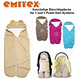 Emitex MULTI - Spring / Summer / Autumn -- NO UNTHREADING of Seat Belts -- Swaddling Wrap, Car Seat and Pram Blanket, Universal for Car Seat (e.g., Maxi-Cosi, Römer, etc.), for Pram, Buggy or Baby Bed -- BEIGE