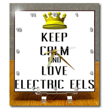 Dc_121040_1 Blonde Designs Gold Crown For Keep Calm Love Animals - Gold Crown Keep Calm And Love Electric Eels - Desk Clocks - 6X6 Desk Clock