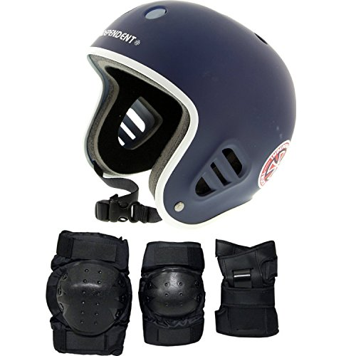 Pro Tec Skateboard Helmet CLASSIC FULL CUT Blue With KNEE/ELBOW/WRIST PADS Sz L (Protec Full Cut Helmet compare prices)