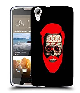 Snoogg Beard Skull Designer Protective Back Case Cover For HTC 828